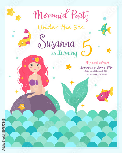 Photographie  Bright invitation card with cute fairy mermaid