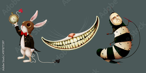 Fotografia Set of cartoon character in  story Wonderland with rabbit,  caterpillar and  Che