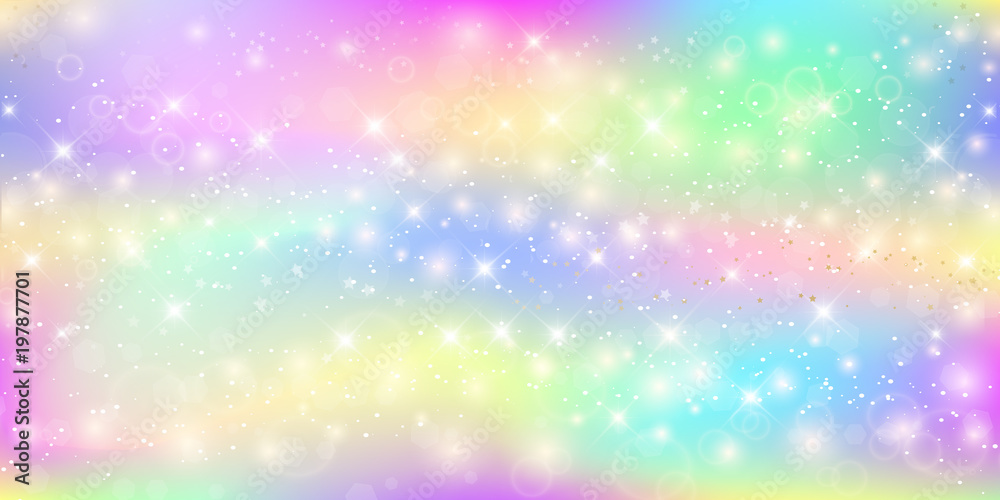 Fototapeta Holographic magic background with fairy sparkles, stars and blurs.