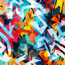 Abstract Color Pattern In Graffiti Style. Quality Vector Illustration For Your Design
