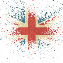 Vector Illustration Vintage Flag Of UK. Grungy British Flag. Vector Grunge Retro Design Great Britain Flag Background