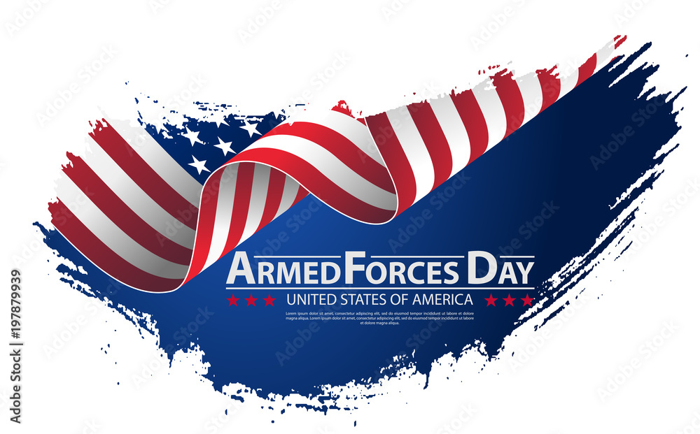 Fototapety, obrazy: Armed forces day template poster design. Vector illustration background for Armed forces day.