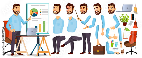 Boss Business Man Character Vector. Working Bearded CEO Male. Start Up. Modern Office Workplace. Chief Executive Officer, General, Colonel, Capital. Animation Set. Face Emotions. Cartoon Illustration