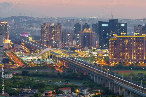 Poster Chicago skyline of zhubei city at night