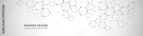 Fotografia Vector banner design with hexagons abstract background.