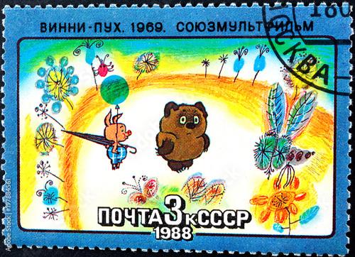 Photo  USSR - circa 1988 - frame from the animated film Winnie the Pooh filmcompany Soyuzmultfilm , 1988