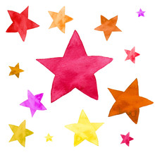 Watercolor Illustration Of Yellow, Pink, Red And Orange Stars Pattern Set