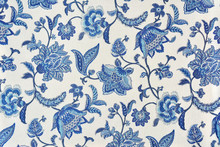 Blue Ornate Floral Pattern On White Cotton Tablecloth.