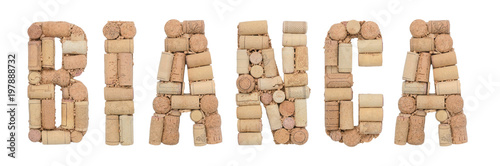 Word White in Italian Bianca made of wine corks Isolated on white background Canvas Print
