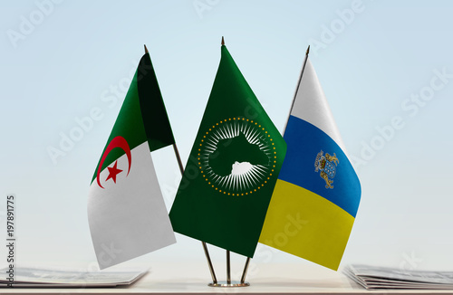 Foto op Plexiglas Canarische Eilanden Flags of Algeria African Union and Canary Islands