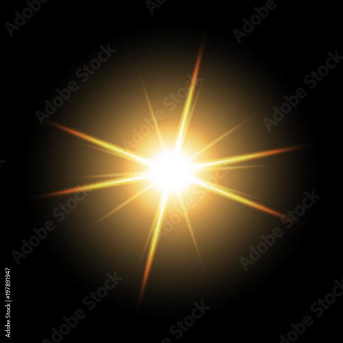 Obraz Shining star on black background, golden color - fototapety do salonu