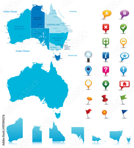 Detailed Map Australia.Australia Highly Detailed Map All Elements Are Separated In Editable