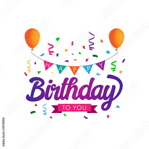 Colorful Happy Birthday Typographic Design For Poster Banner Graphic Template Card