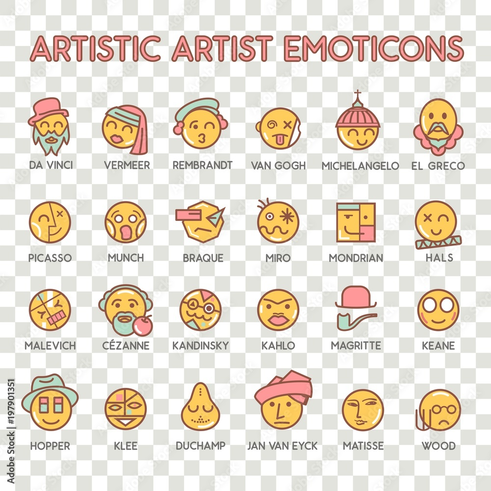 Emoticon artistic artist vector emoji Smile icon set for web
