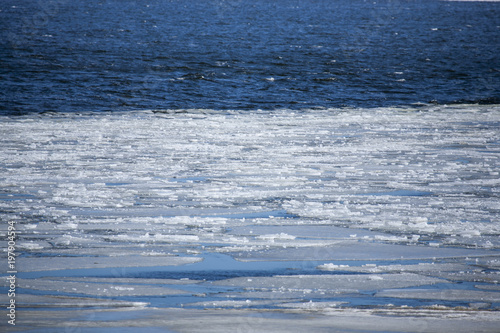 Fotografie, Obraz  ice cold ocean filled with ice in the water on a cold winter day in denmark
