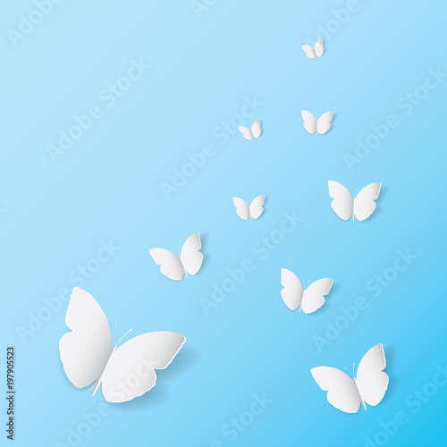 White Butterfly Paper Art Icon On Blue Banner Background