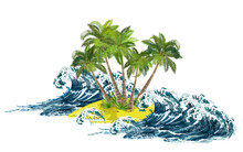 Storm Sea Waves Breaking On Small Tropical Island With Coconut Palms. Hand Drawn Vector Illustration On White Background.