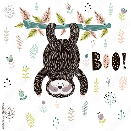 Fotografie, Obraz  Boo! Cute print with a sloth hanging from the tree