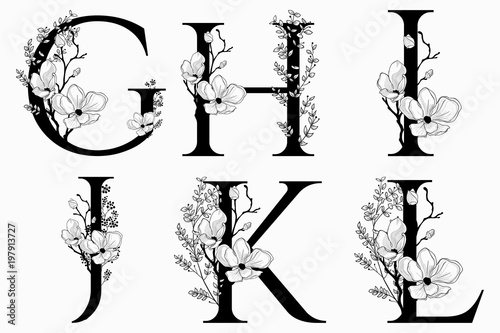 Fotografija  Vector Hand Drawn floral uppercase letters monograms