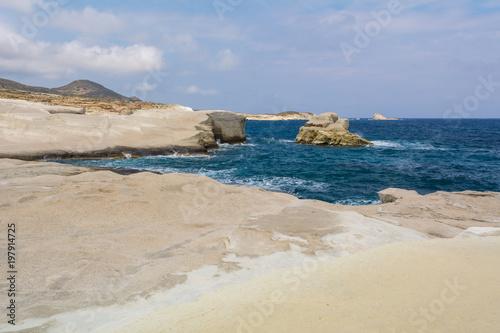Foto op Plexiglas Strand Volcanic rocks of Sarakiniko beach on Milos island. Cyclades, Greece.