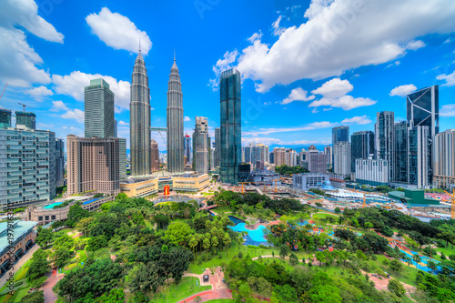 Kuala Lumpur, Malaysia. The Twin Towers and KLCC Park Wallpaper Mural