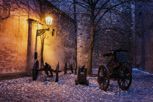 The Dark Corner Historic Castle With Cannon Lit By Historic Lamp