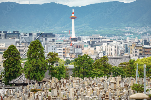 Staande foto Kyoto Kyoto city with tower and cemetery