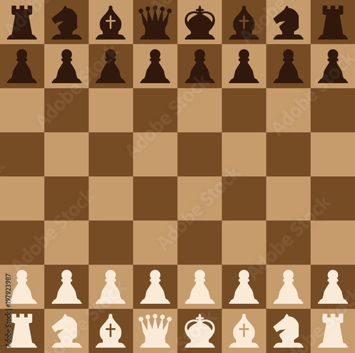 Fotografía Chess pieces set of icons on a brown chess board