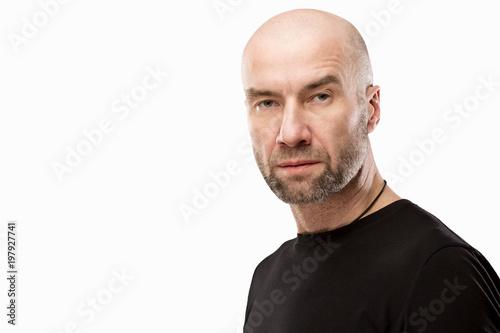 Obraz na plátně Brutal bald man, isolated