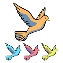 Simple, Flat Dove Icon. Four Color Variations. Isolated On White