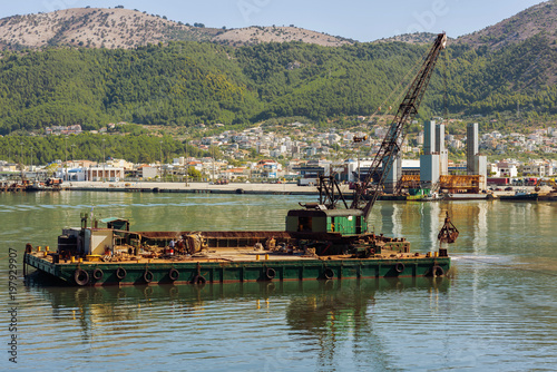 Fotografia, Obraz  Dredge ship on the sea on the Igoumenitsa port in the Greece