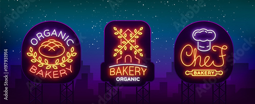 Bakery Collection of logos in neon style  Vector