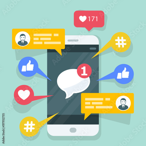 Fotografía Viral content, smm and social activity - likes, shares and comments popping up on the mobile screen