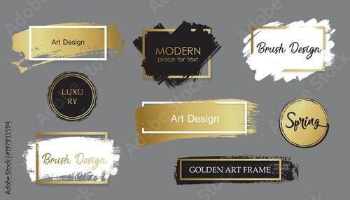 Fototapeta Vector black paint, ink brush stroke, line or texture. Dirty artistic design element, box, frame or background for text. obraz