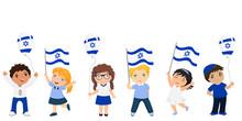 Children Holding Israeli Flags...