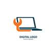 Logo design abstract computer repair vector template.
