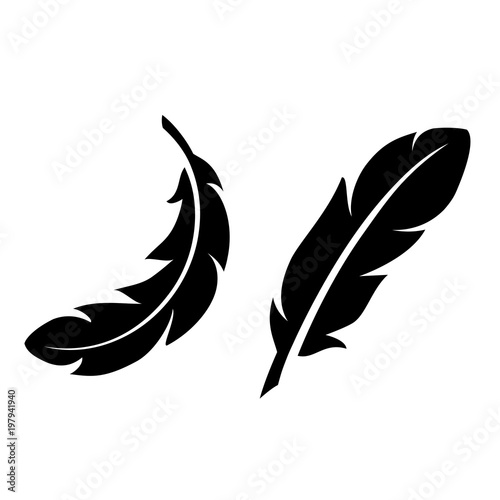 Fototapeta Light feathers vector icon set
