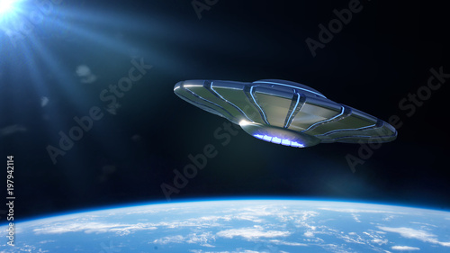 Photo  UFO, alien spaceship in orbit of planet Earth, extraterrestrial visitors from ou