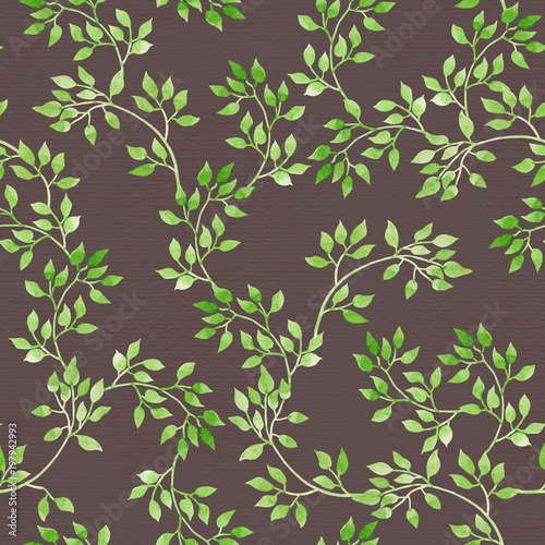 Poster Kunstmatig Leaves on green branches. Seamless pattern. Watercolor