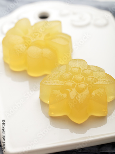 Agar agar citrus jelly dessert Canvas Print