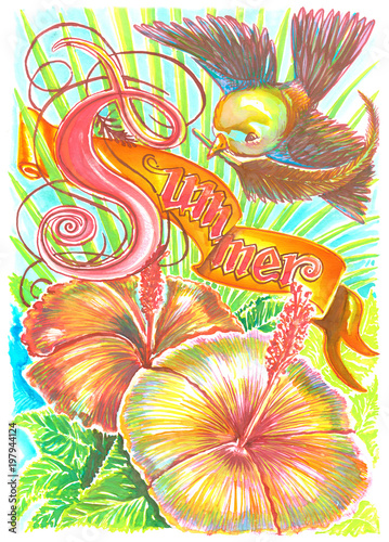 Bird with Hibiscus flower nature summer water color design Canvas Print