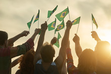 Rising Up Brazil Flags. Crowd ...
