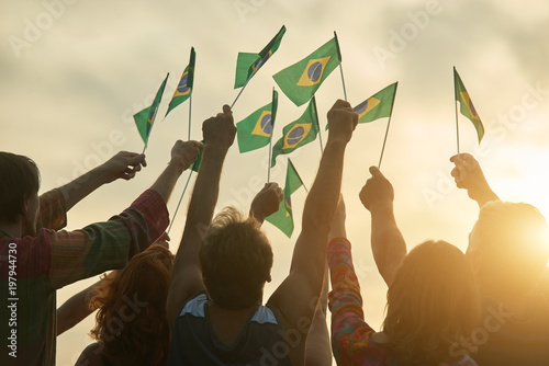 Foto Rising up brazil flags