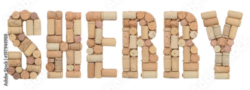 Grape variety Sherry made of wine corks Isolated on white background