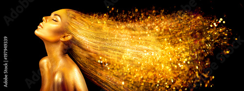 Fashion model woman in golden bright sparkles Canvas-taulu