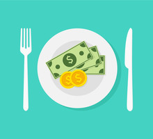 Money In Plate. Saucer With Payment. Gratuity Concept. Cash Payment. Flat Design, Vector Illustration On Background.