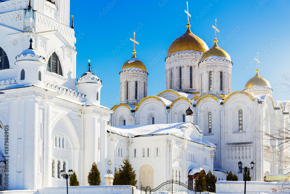 Fototapety, obrazy: Dormition Cathedral. Famous landmark church in Vladimir city, Russia at winter