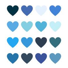Blue  Color Hearts - Flat Color