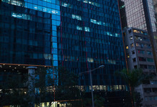 Skyscraper Reflections At Glass Facade, Hong Kong, Wanchai District