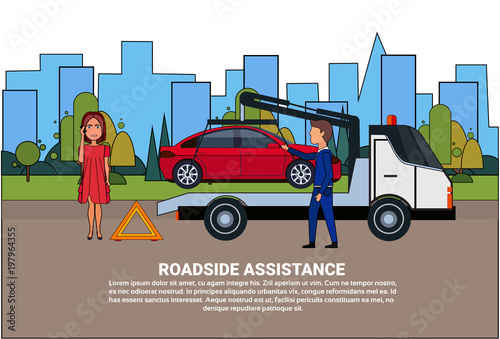 Foto op Aluminium Pixel Roadside Assistance Towing Broken Car Over Driver Woman Calling In Insurance Service Flat Vector Illustration